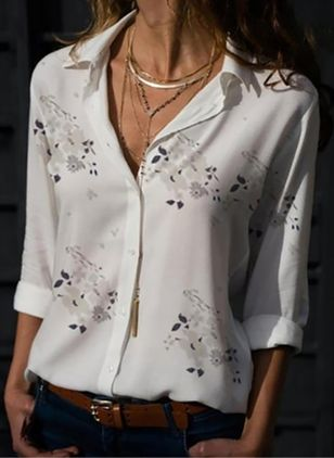 Floral Spring Collar Long Sleeve Blouses (4864892)