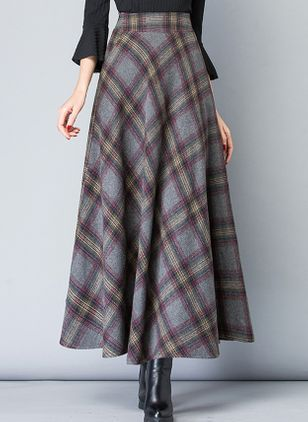 Check Maxi Casual Skirts (107805018)