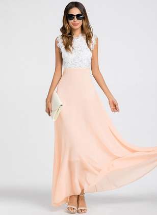 Solid Lace Tank Maxi Sheath Dress