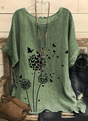 Floral Round Neck Half Sleeve Casual T-shirts (146964092)