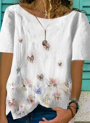 Floral Round Neck Short Sleeve Summer T-shirts (1511436)