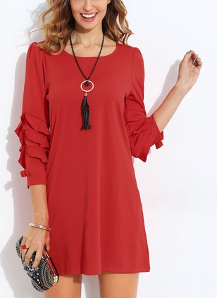 Solid Ruffles Skater 3/4 Sleeves Shift Dress