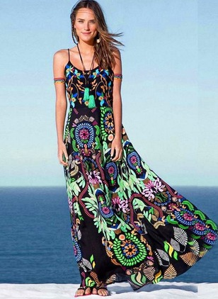 Cotton Floral Sleeveless Maxi Casual Dresses