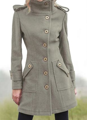 Long Sleeve High Neckline Buttons Pockets Coats (116140542)