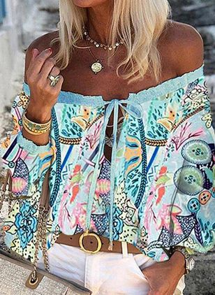 Floral Casual Off the Shoulder Long Sleeve Blouses (147141912)