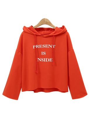 Alphabet Casual Polyester Hooded None Sweatshirts