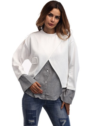 Color Block Casual Polyester Round Neckline None Sweatshirts