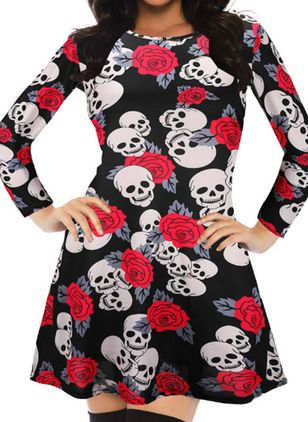 Halloween Floral Tunic Round Neckline A-line Dress (109973599)