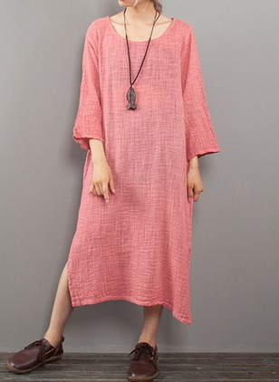 Solid Pockets 3/4 Sleeves Midi Shift Dress