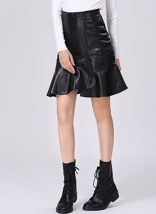 PU Solid Knee-Length Casual Ruffles Skirts