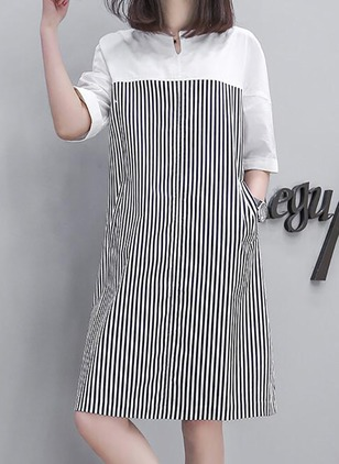 Stripe Pockets Half Sleeve Knee-Length Shift Dress