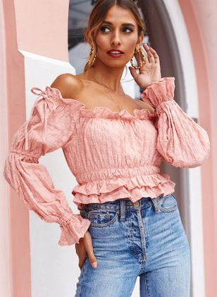Solid Sexy Off the Shoulder Long Sleeve Blouses