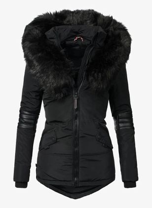 Long Sleeve Hooded Zipper Pockets Removable Fur Collar Parkas Coats (146700623)