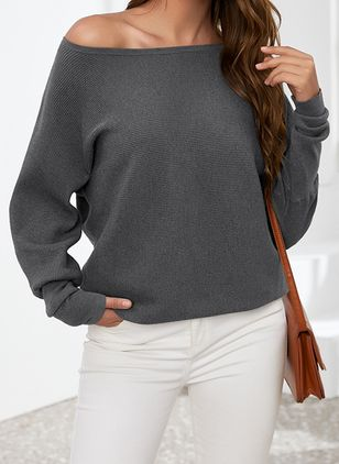 Oblique Neckline Solid Casual Loose Regular Sweaters (1347950)