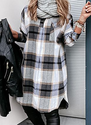 Casual Plaid Tunic Collar Shift Dress (146858852)