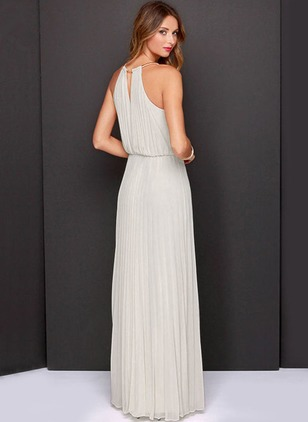 Polyester Solid Sleeveless Maxi Dresses