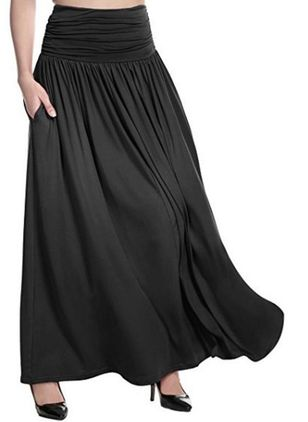 Solid Maxi Casual Pockets Skirts (146744053)