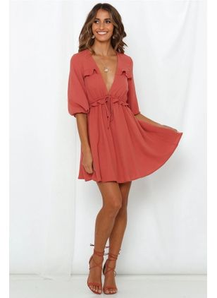 Solid Ruffles Skater Above Knee X-line Dress