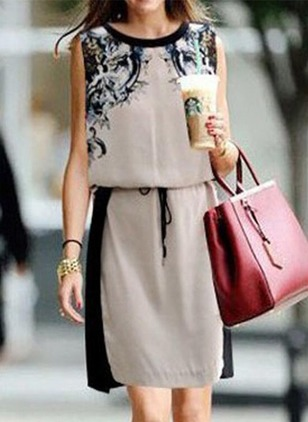 Floral Wrap Sleeveless Shift Dress