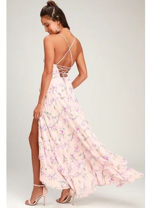 Floral Slip Sleeveless Maxi X-line Dress
