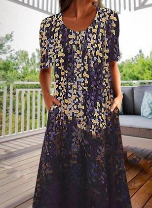 Casual Floral Tunic Round Neckline A-line Dress (147204589)