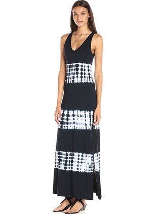 5961bace1c0ee7 Polyester Color Block Mouwloos Maxi Jurken