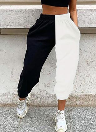 Casual Loose Pockets Mid Waist Polyester Pants (147192264)