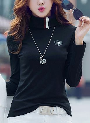 Color Block High Neckline Long Sleeve Casual T-shirts