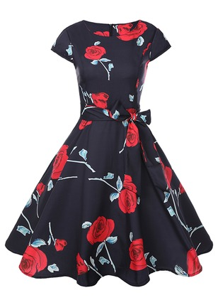 Floral Wrap Cap Sleeve Knee-Length A-line Dress