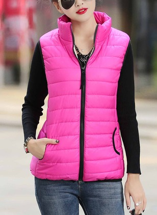 Sleeveless High Neckline Zipper Gilet