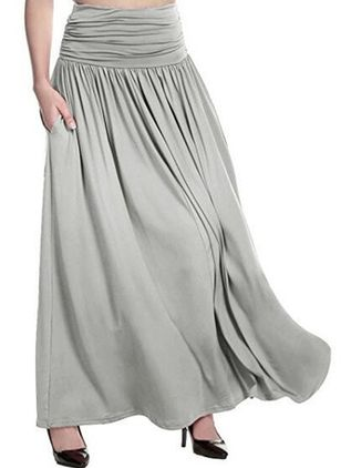 Solid Maxi Casual Skirts (107805704)