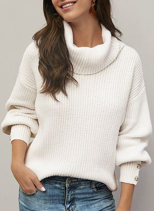 High Neckline Solid Casual Loose Buttons Sweaters (107251376)
