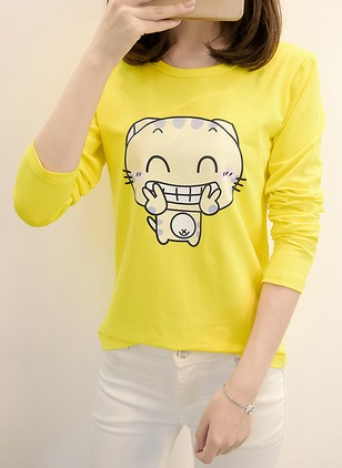 Cotton Polyester Animal Round Neck Long Sleeve Casual T-shirts