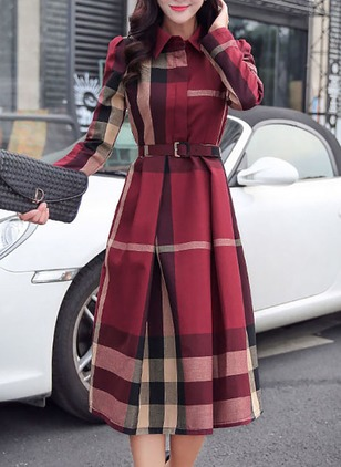 Cotton Shirt Long Sleeve Midi A-line Dress