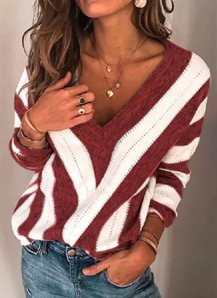 V-Neckline Color Block Casual Loose Regular Shift Sweaters (104917837)