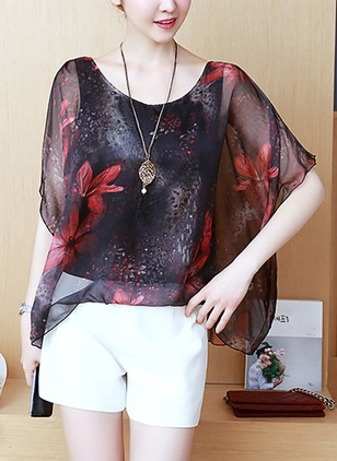 Chiffon Floral Round Neck Short Sleeve Sexy T-shirts