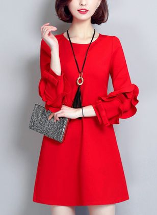 Solid Bow 3/4 Sleeves Above Knee Shift Dress