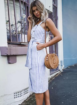 Stripe Pockets Tank Midi A-line Dress