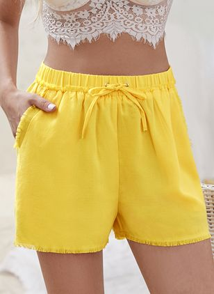 Casual Loose Pockets Mid Waist Polyester Shorts (147207878)