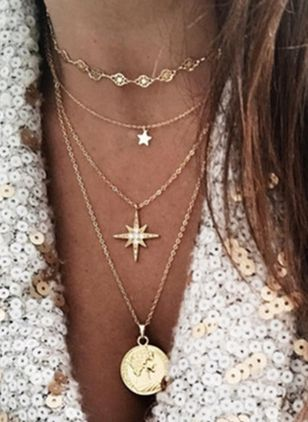 Casual Star Round No Stone Pendant Necklaces (100772722)