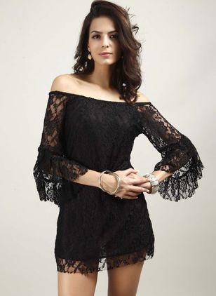 Solid Lace 3/4 Sleeves Above Knee Sheath Dress