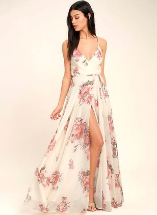 Floral Sleeveless Maxi X-line Dress