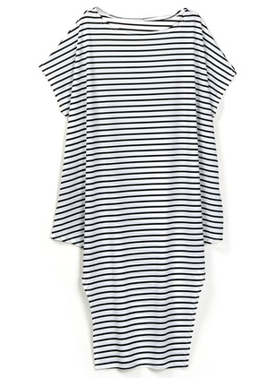 Stripe Half Sleeve Maxi Shift Dress