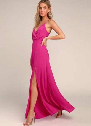 Solid Slip Sleeveless Maxi X-line Dress