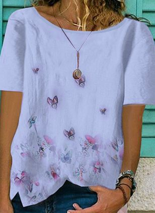 Floral Round Neck Short Sleeve Casual T-shirts (4864507)