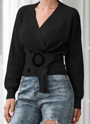 V-Neckline Solid Casual Tight Regular Sashes Buttons Sweaters (146383886)