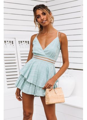 Color Block Ruffles Slip Mini X-line Dress