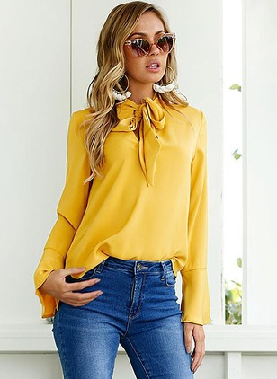 Solid Casual Polyester Others Long Sleeve Blouses
