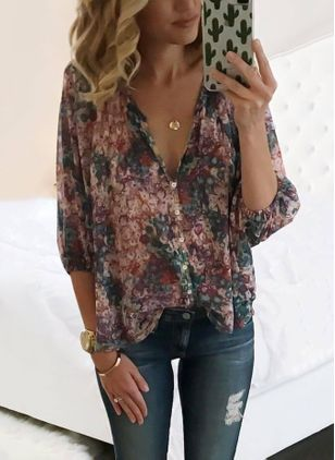 Floral Casual V-Neckline 3/4 Sleeves Blouses (1338335)