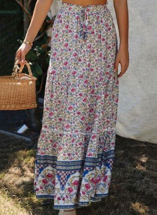 Floral Maxi Casual Skirts (146878639)